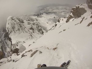 The view down the SW Couloir from just below the summit where we started the ski descent.