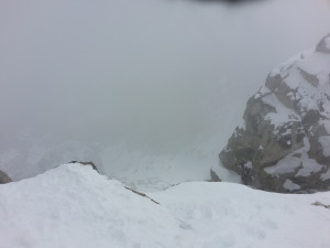 """A look down towards the """"Glacier Route"""" on the Middle Teton"""