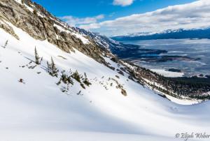 Skiing on Mt Moran in GTNP