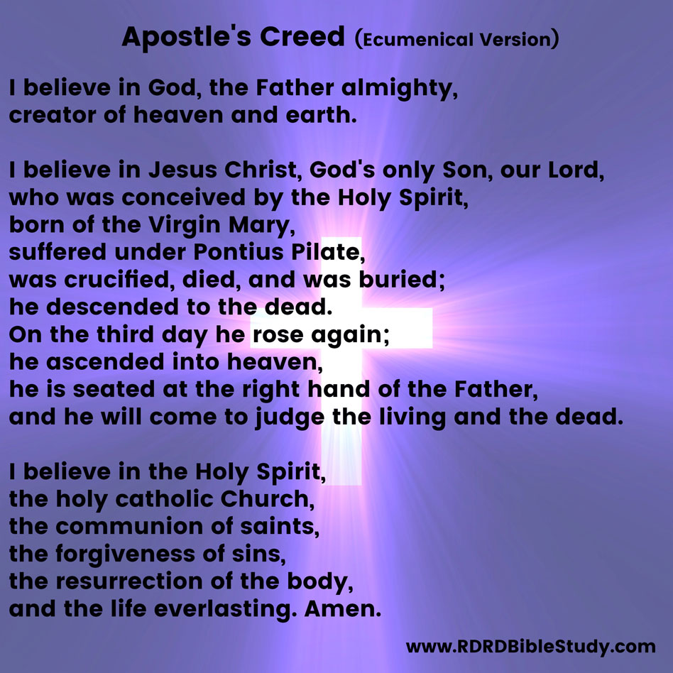RDRD Bible Study Apostle's Creed Ecumenical Version