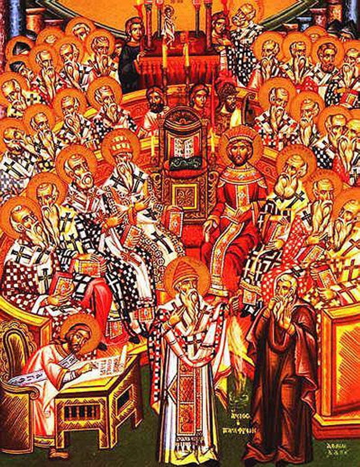 RDRD Bible Study Council Of Nicaea Eastern Orthodox Icon; Attribution By Originally uploaded by Coemgenus on en.wikipedia. (Unknown) [GFDL (http://www.gnu.org/copyleft/fdl.html), CC-BY-SA-3.0 (http://creativecommons.org/licenses/by-sa/3.0/) or Public domain], via Wikimedia Commons