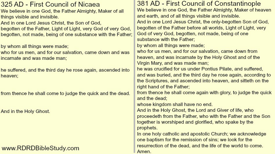 RDRD Bible Study Nicene Creed 325 And 381