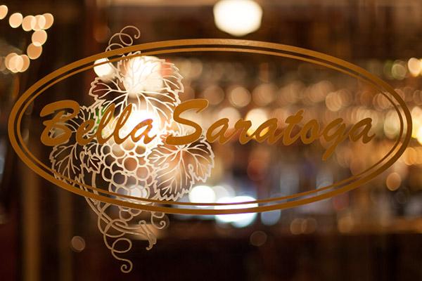 Bella Saratoga Gold Logo Lettering on glass
