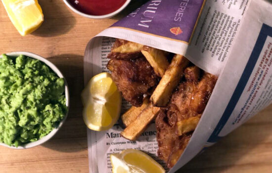 Beer Battered Fish with Mushy Peas