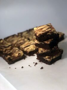 Stack brownies by bars