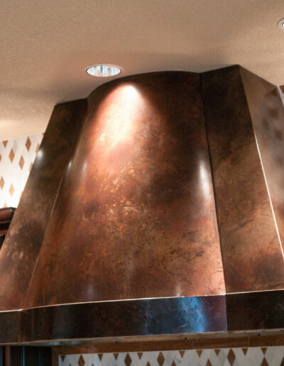 curved face volcanic stainless steel kitchen hood