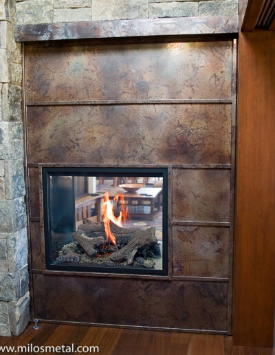 Volcanic Stainless Steel Fireplace surround