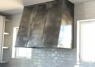 Volcanic Stainless Steel gray ash with linear pattern Kitchen Hood