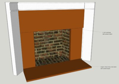 Copper fireplace surround with repousse 3D drawing