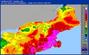 Northeast precipitation, March 2010