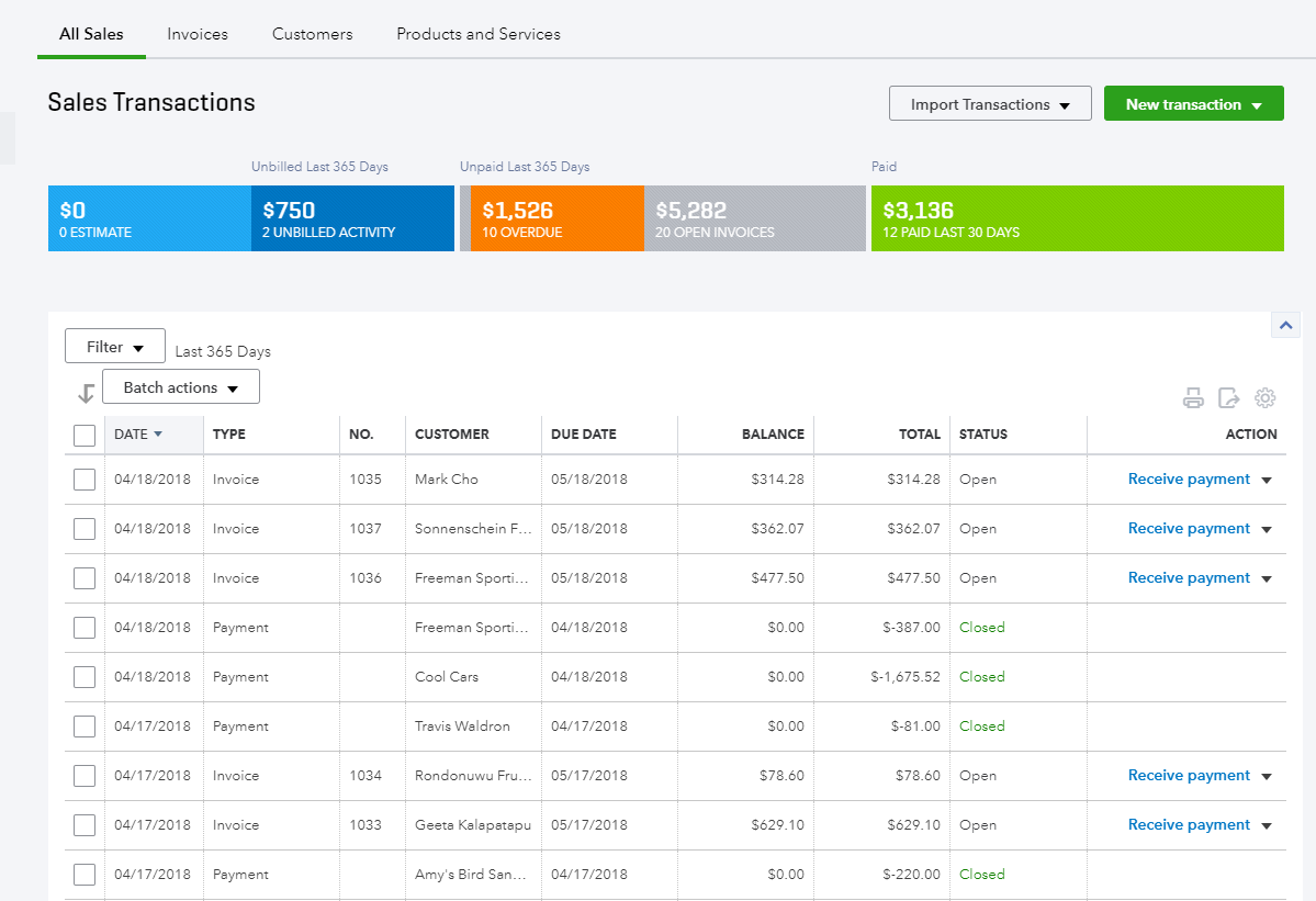 quickbooks sales transactions