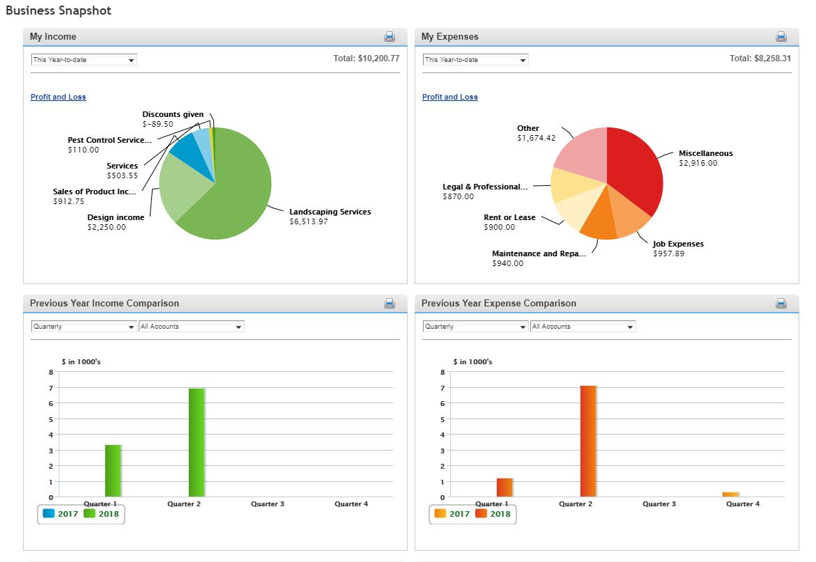 business snapshot dashboard