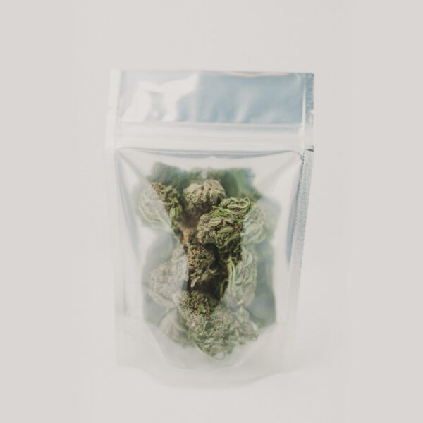 CBD hemp flower in a pouch