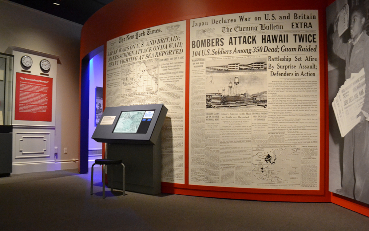 Custom kiosk and curved graphic wall panel for FDR Museum exhibit