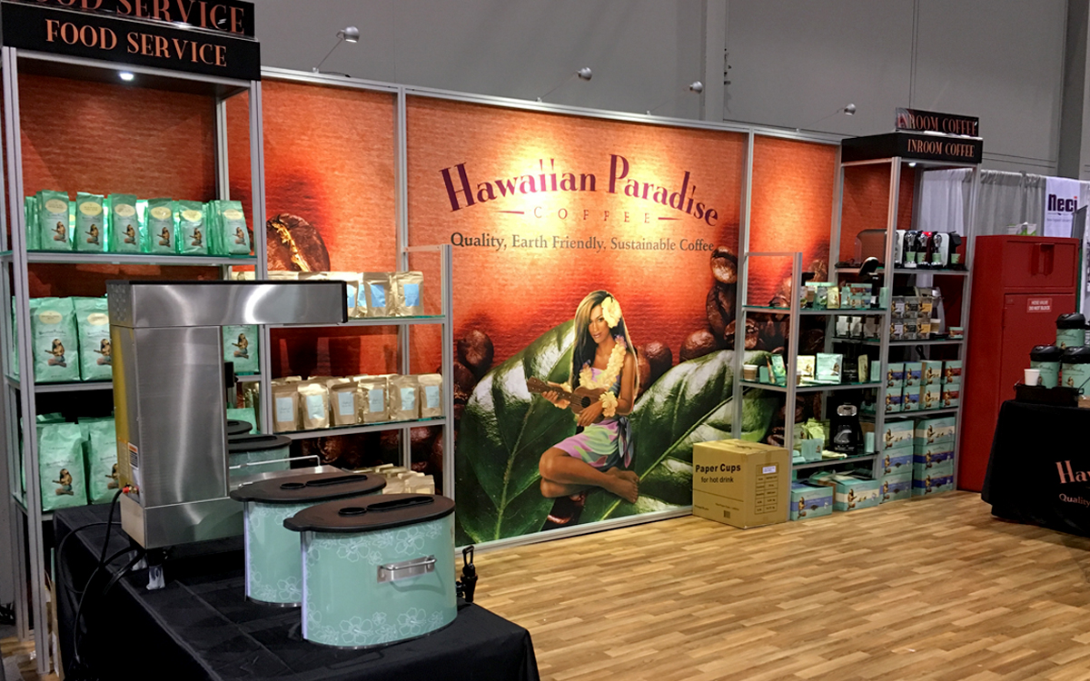 Trade show exhibit booth with custom shelving for Hawaiian Paradise Coffee