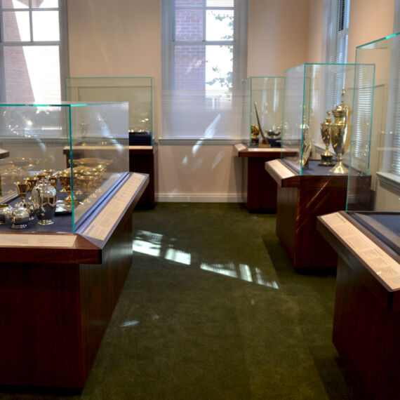 trophy room of museum cases by empire exhibits in albany new york