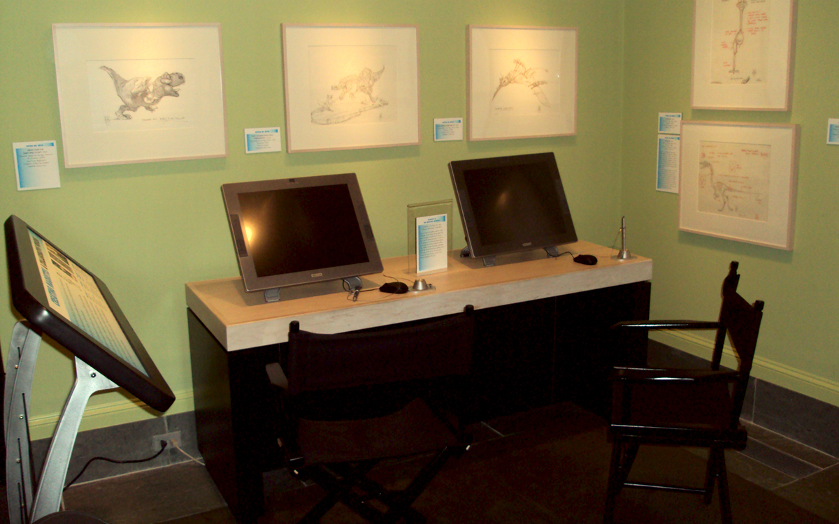 Lost Boyz museum interactive display featuring Wacom tablets in a 3D artist's studio replica for the Ice Age and Rio movies by Blue Sky Studios