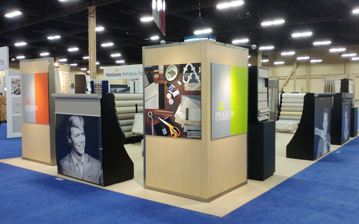 Phase II trade show booth exhibit with graphics of fabrics and David Bowie