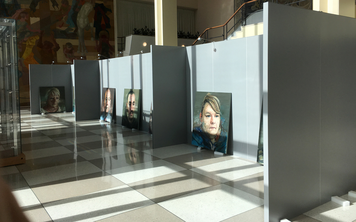 Gallery Rental Walls for portrait art exhibit in the United Nations building in NYC