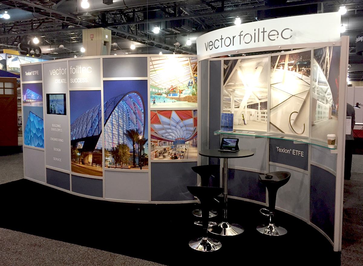 trade show booth for vector folitec with curved walls