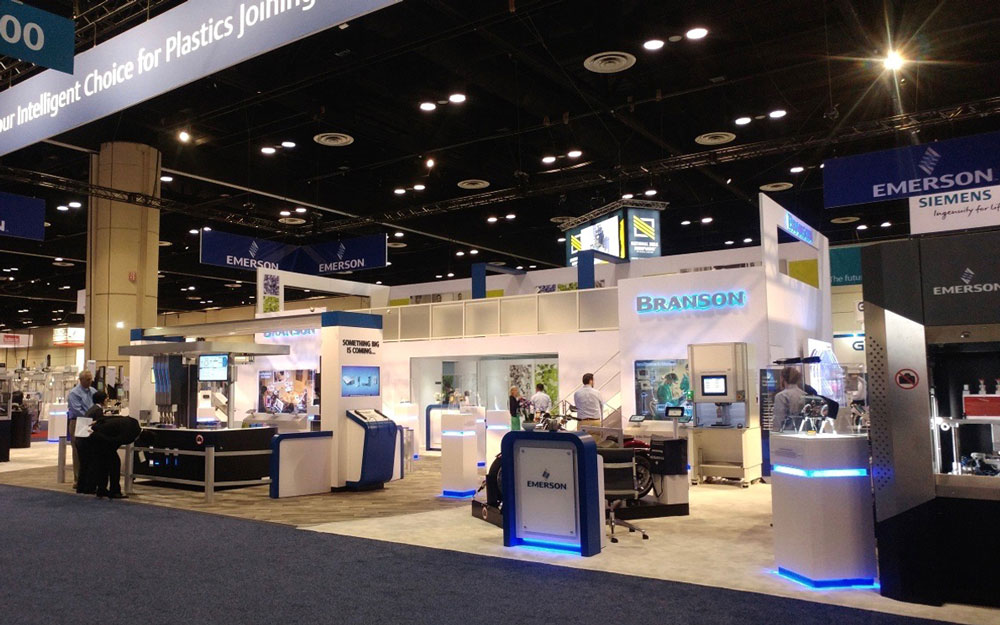 Empire exhibits built Emerson trade show booth with custom LED display cases and custom kiosks