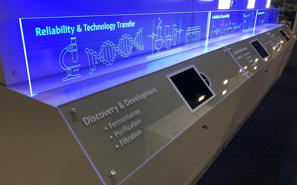 interactive kiosk display blue
