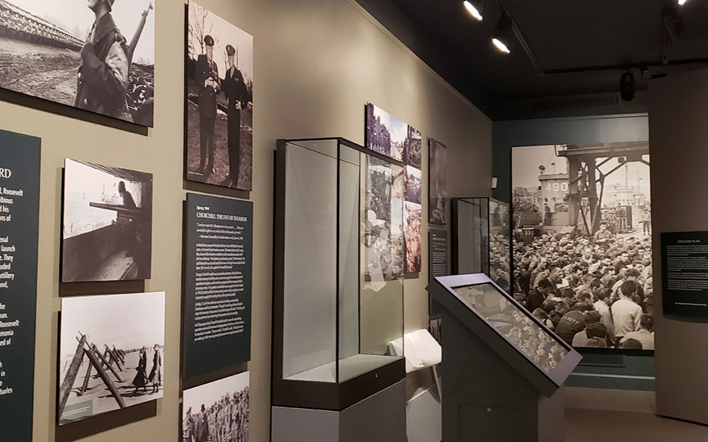 display cases and kiosk at FDR museum