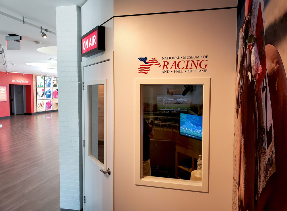 sound booth interactive at horse racing museum photo op window