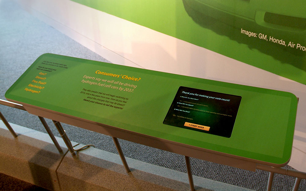 Reading rail kiosk with interactive touchscreen for the America on Wheels museum exhibit
