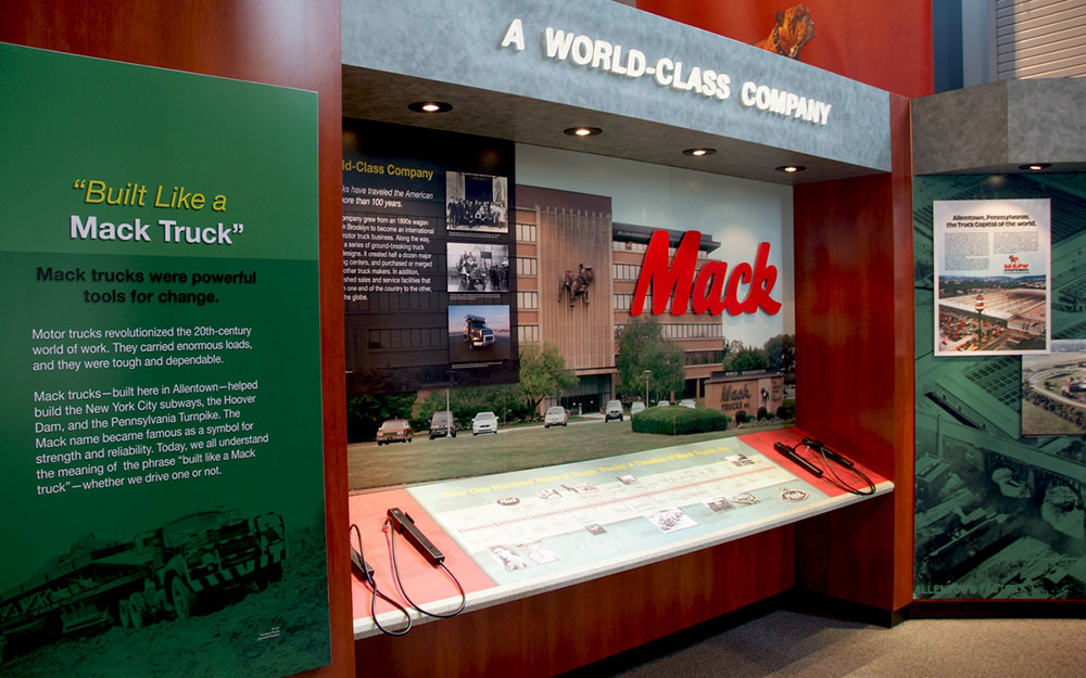 Mack truck interactive display with sound sticks, dimensional letters, puck lights and graphics
