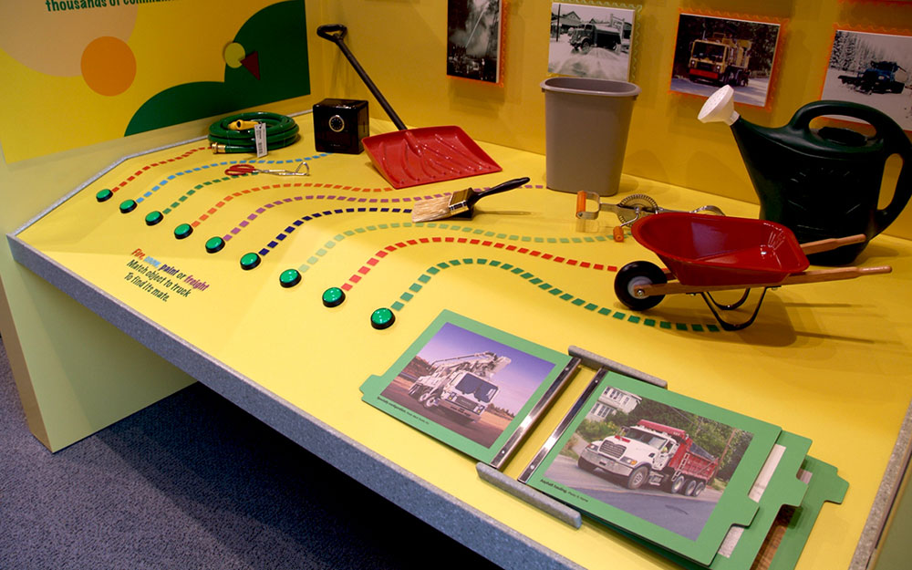 Children's interactive kiosk for a permanent installation at the America on Wheels exhibit