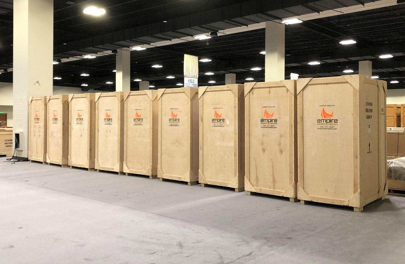 empire trade show crates in a line