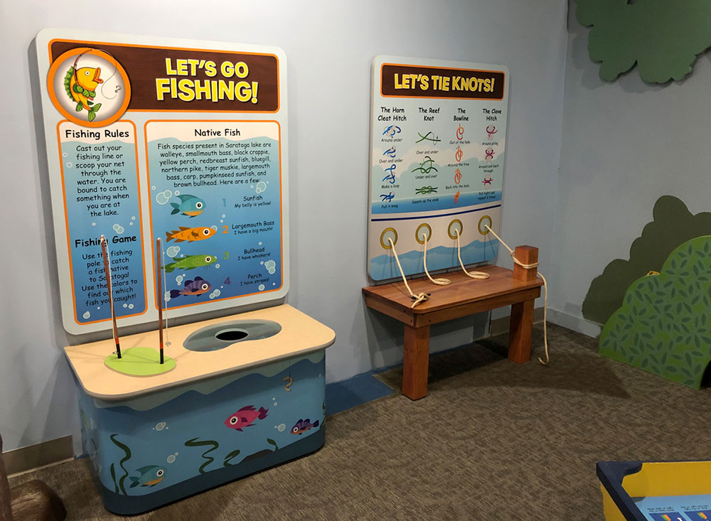 kids interactive display ny childrens museum exhibit game about fishing and lake learning