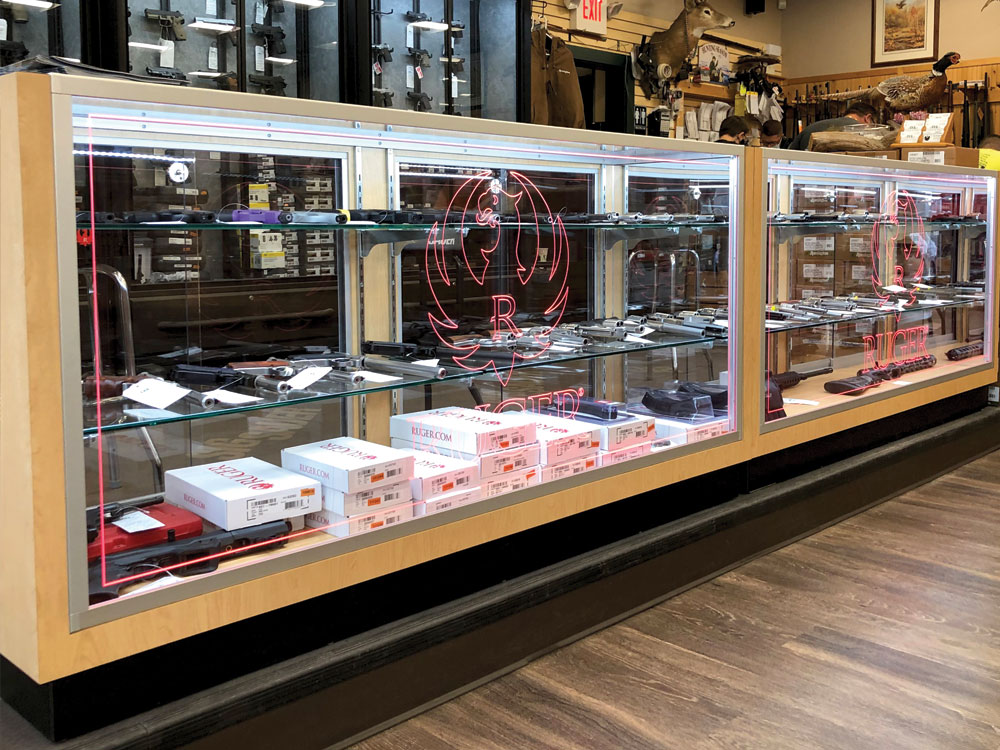 custom retail cabinets with Ruger logo in red LEDs