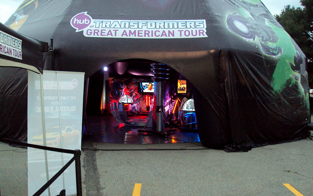 Tent for Transformers Great American Tour housing display cases, kiosks and photo ops