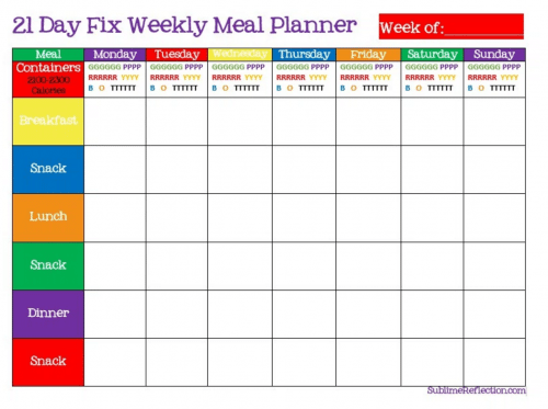 21 Day Fix sublimereflection.com blank meal plan