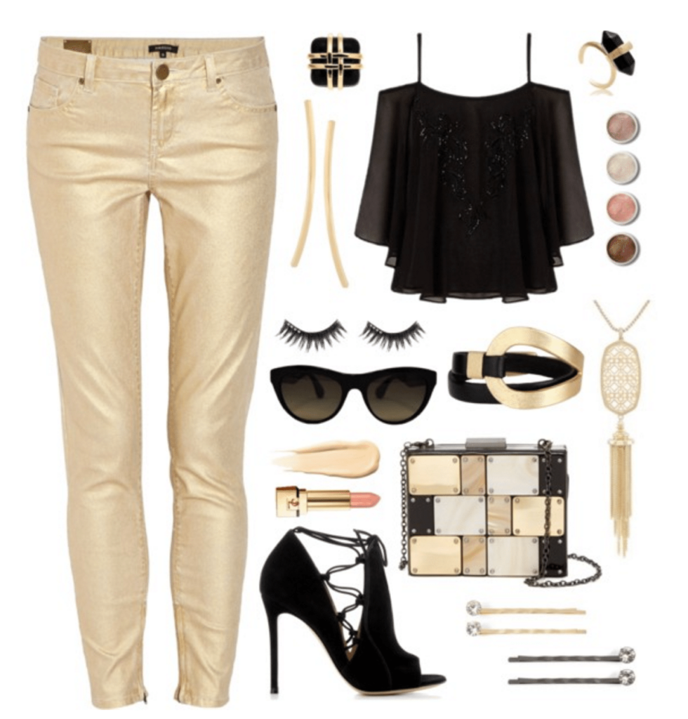 Gold and Black Date Night Fashion