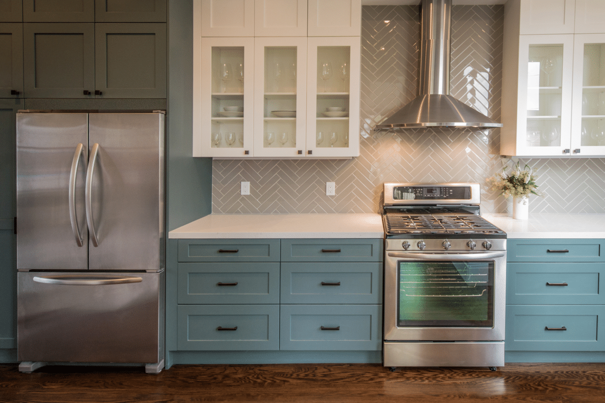 Modern Kitchen with Teal Base Cabinets -1