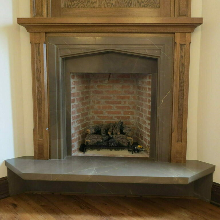 marble slab fireplace with cantilevered hearth
