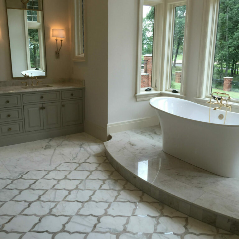 white marble honed floor with custom floor pattern