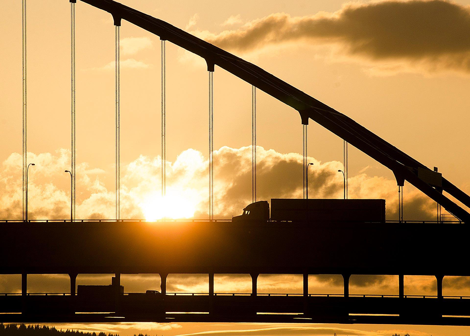 Fremont Bridge and truck at sunset, Portland, Oregon