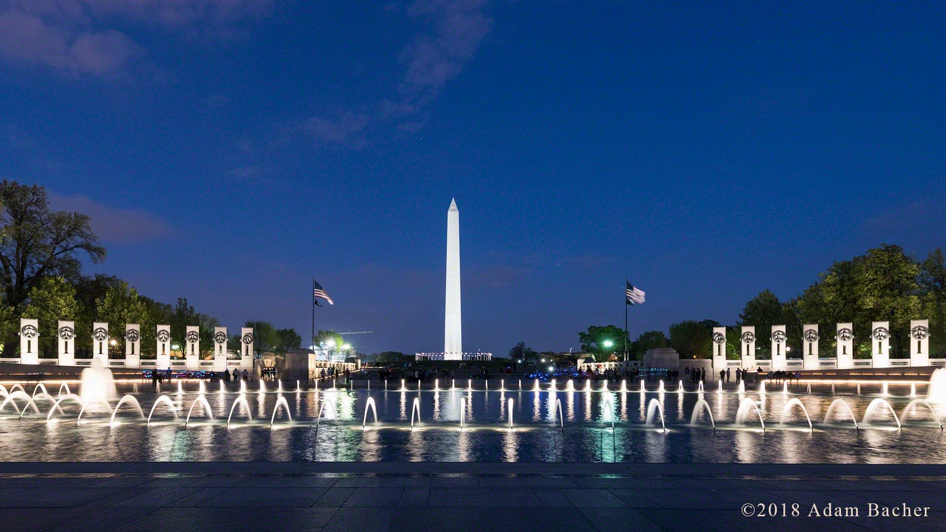 Washington Monument from WWII memorial. at night, Washington DC
