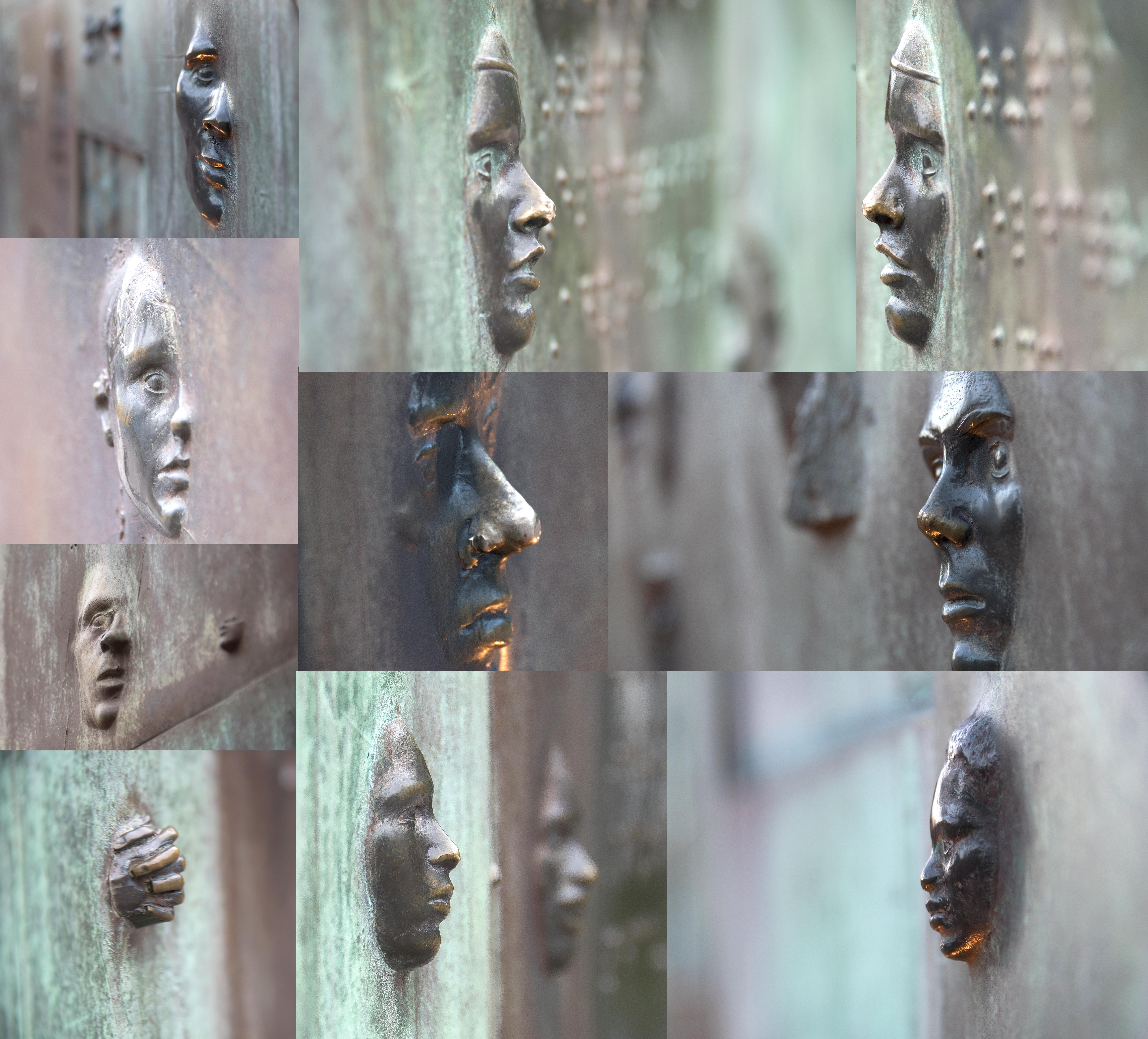 Roosevelt monument faces in wall