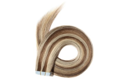 Dyed straight light brown mix blonde highlights adhesive tape in human hair extensions