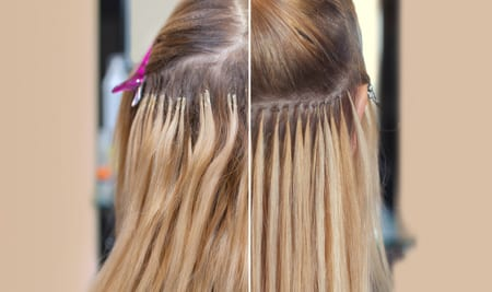 Photo before and after hair extensions to a young girl, a blonde in a beauty salon. Professional hair care.