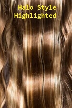 Highlighted Color Halo Style Hair Extensions