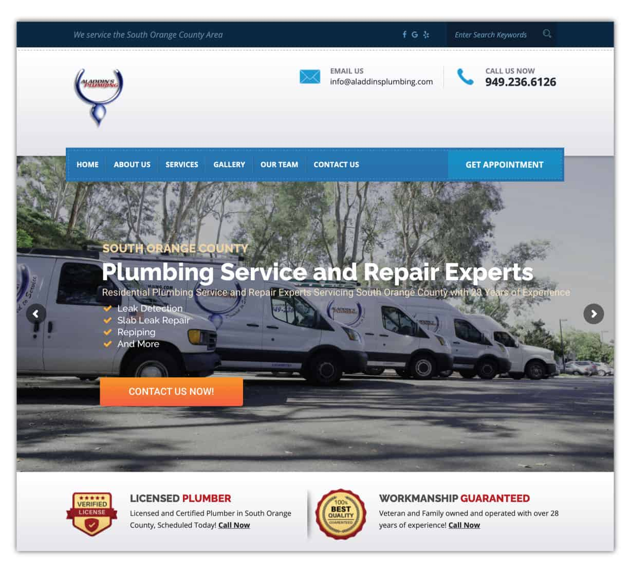 Aladdin after website redesign