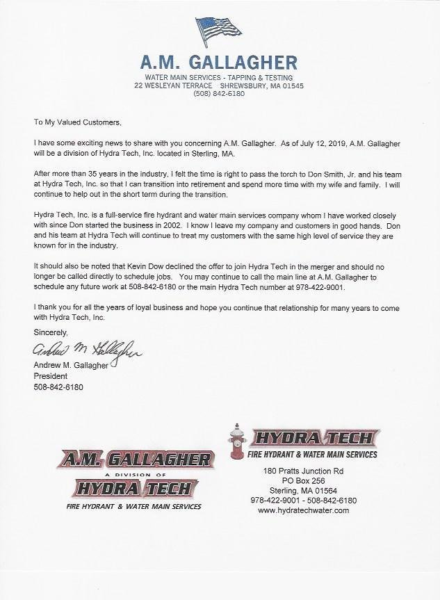 A.M. Gallagher letter to clients