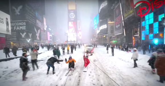 Times Square snowboarding in the New York Blizzard in 2016.