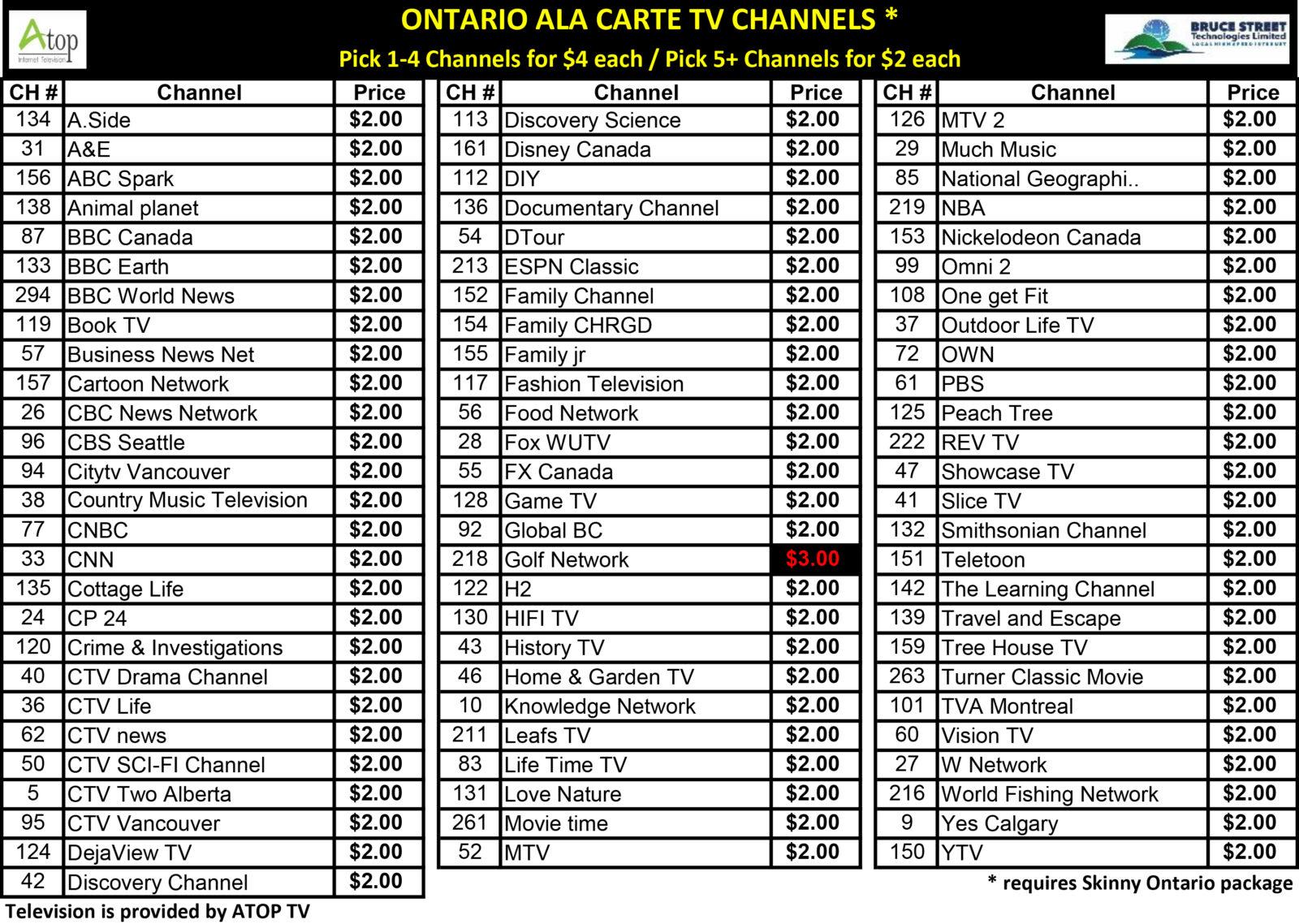 ATOP a la Carte TV Channels